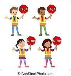 multicultural, crianças, em, protetor cruzamento, uniforme