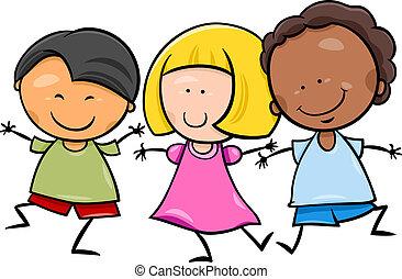 multicultural, crianças, ilustração, caricatura