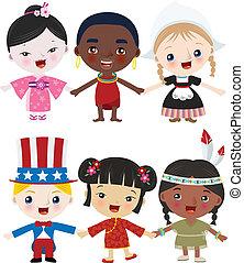 multicultural, crianças, junto