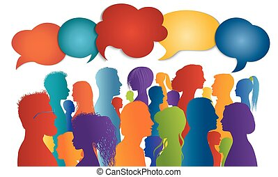 Multicultural crowd talking. Dialogue group diverse people ...