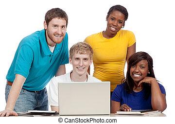 multicultural, estudantes colégio, ao redor, um, computador