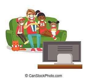 multicultural, familie, iagttag, fodbold match, på, television