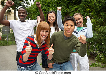 five intercultural friends having fun