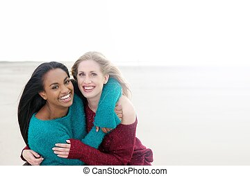 Multicultural Girls Smiling and Hugging