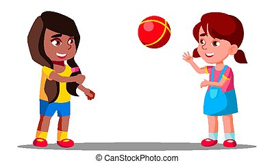Multicultural Group Of Children Playing Together Vector. Isolated Illustration