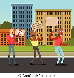 Multicultural group of people with placards claiming their demands on city background, mass protest flat vector illustration