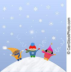 multicultural, hó, gyerekek