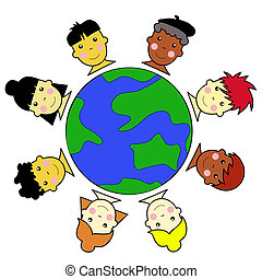 Multicultural Kid Faces United Around Earth Globe...