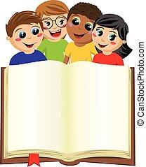 multicultural kids children behind blank open big book...