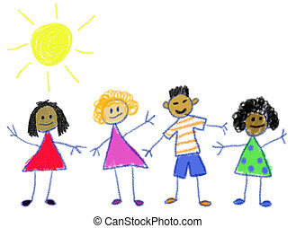 Children in the style of a child's crayon drawing