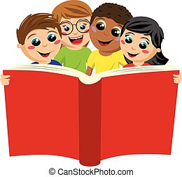 multicultural kids children reading big book isolated -...