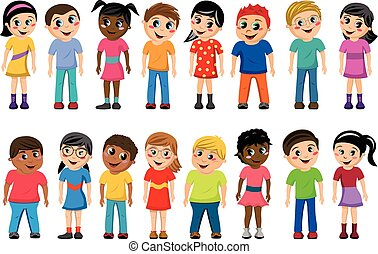 Multicultural kids children standing isolated
