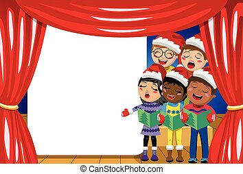 Multicultural kids wearing xmas hat singing Christmas carol nativity play stage copyspace