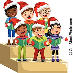 Multicultural kids wearing xmas hat and singing Christmas carol on choir riser isolated