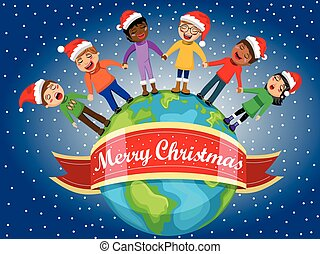 Multicultural kids xmas hat singing Christmas carol hand Earth