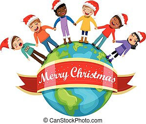 Multicultural kids xmas hat singing Christmas carol hand Earth isolated