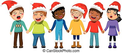 Multicultural kids wearing xmas hat singing Christmas carol hand in hand isolated