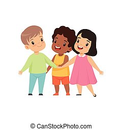 Multicultural little kids standing together, friendship, unity concept vector Illustration on a white background.