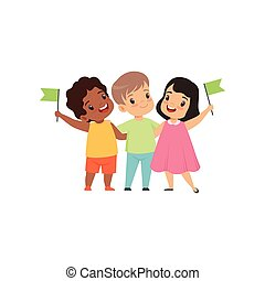Multicultural little kids standing with flags together, friendship, unity concept vector Illustration on a white background