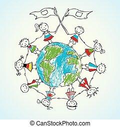 multicultural, niños, en, tierra de planeta