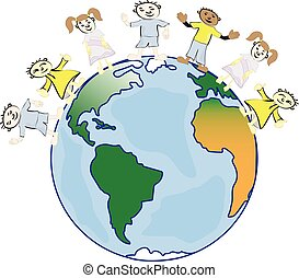 multicultural, niños, en, tierra de planeta, cultural, diversidad, tradicional, gente, costumes., tierra, es, mi, friend.