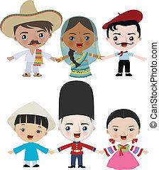 multicultural, niños, ilustración
