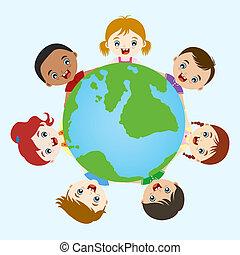 multicultural, niños, tomados de la mano