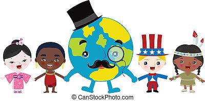 multicultural, niños, y, tierra