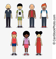 multicultural people avatars icon