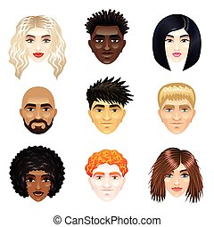 Multicultural people faces vector set