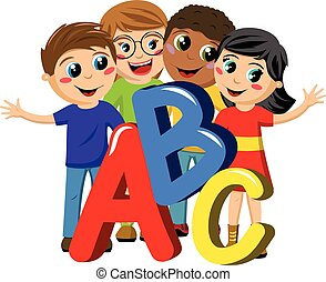 Multicultural school kids or children abc letters isolated -...