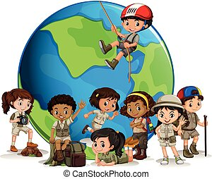 Multicultural scout with globe