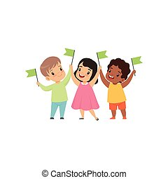 Multicultural smiling little kids standing with flags in row together, friendship, unity concept vector Illustration on a white background