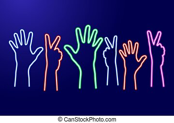 Multicultural team, hands raised up with fingers spread and a sign of victory from glowing blue, red, pink and green neon luminescence lines. Vector illustration. Set of parts.