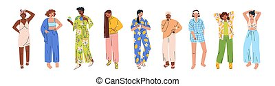 multicultural, vettore, appartamento, vario, set, bianco, ...