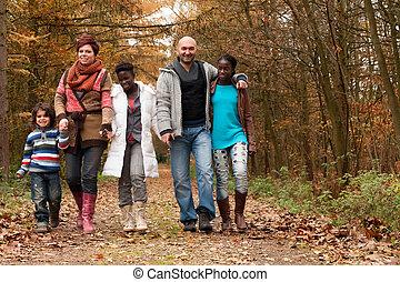multicultural, wziąć, rodzina, chód
