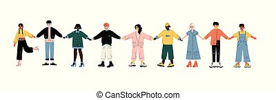 Multicultural Young People Standing in Row Together Holding Hands, Friendship, Unity, Tolerance Vector Illustration