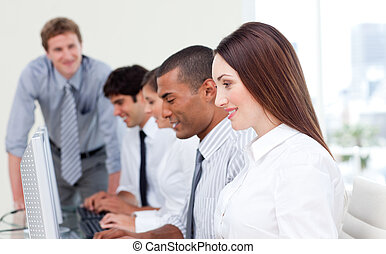 multicultureel, handel team, op het werk