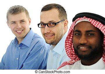 multicultureel, jonge, handel team