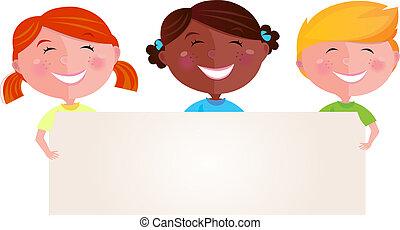 multicultureel, kinderen, met, spandoek