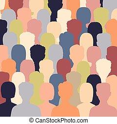 multiculturel, debout, gens, divers, groupe ensemble