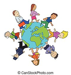 multiculturel, dessin animé, gens