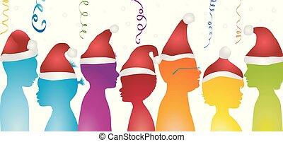 multiculturel, divers, communauté, couleurs, year., partie...