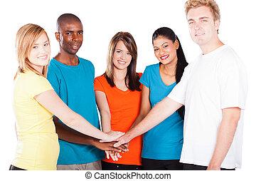 multiculturel, gens, mains ensemble