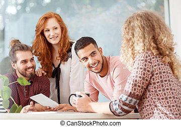 multiculturel, groupe, de, collègues