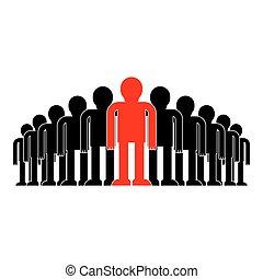 multidão., conceito, ilustração negócio, saliência, vetorial, líder