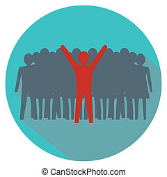 multidão., concept., liderança, carrinho