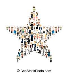 multidão., estrela
