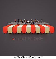 multidão., pessoas, vetorial, toldo, listrado, loja