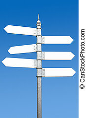 Multidirectional six way signpost with blank spaces for...